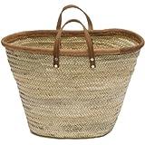 "Moroccan Straw Market Bag w/ Brown Leather Handles & Trim - 22""Lx13""H - Majorca"