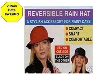 Reversible Black Bucket Style Rain Hat 2 HATS INCLUDED