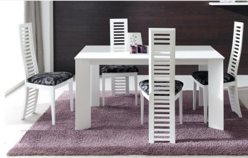 Table salle a manger blanc laqu extensible id es de for Table de salle a manger carree extensible