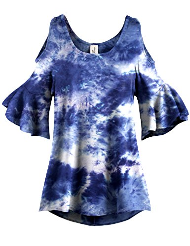 Navy Tie Dye Pleated End Cold Shoulder Tunic Tops, 010 - Navy, US L