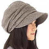 AWシャイニングキャスケット 大きいサイズ 帽子 レディース キャスケット ハット つば長 つば広 紫外線対策 小顔効果 防寒対策 秋冬 【フリーサイズ(56-58cm)-ブラウン】