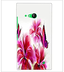PrintDhaba Butterfly and Flowers D-2387 Back Case Cover for NOKIA LUMIA 730 (Multi-Coloured)