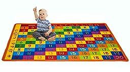 Kids Rug Addition Chart 3\' X 5\' Children Area Rug for Playroom & Nursery - Non Skid Gel Backing (39\