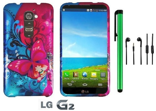 Lg G2 Model Vs980 (Verizon Only) Premium Pretty Design Protector Hard Cover Case + 3.5Mm Stereo Earphones + 1 Of New Metal Stylus Touch Screen Pen (Pink Butterfly Bliss Blue Swirl)