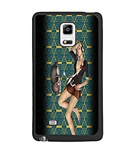 PrintDhaba Music Girl D-2939 Back Case Cover for SAMSUNG GALAXY NOTE 4 (Multi-Coloured)