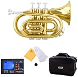 Mendini Mpt L Lacquer Brass Bb Pocket Trumpet Gold
