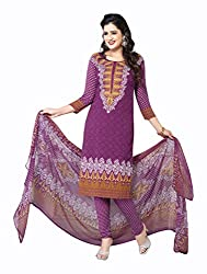 Varsha Women's Chiffon Unstitched Dress Material (Purple)