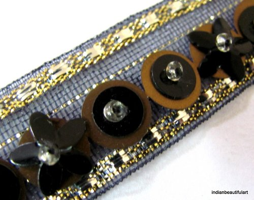 8 Yard Black Gold Beaded Copper Sequin Trim Ribbon New