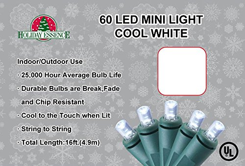 Holiday Essence 60 LED Mini Lights - Cool White - Green Wire - Indoor / Outdoor Use