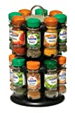 Premier Housewares Pack 16 Bottles Schwartz Spices with Free 2-Tier Spice Rack, Black Chrome Effect