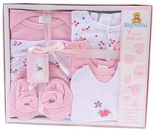 Big Oshi Layette Baby Gift Set, 7-Piece - Boxed, Complete With A Gift Tag And Pretty Bow - Perfect Baby Shower Gift - Pastel Pink