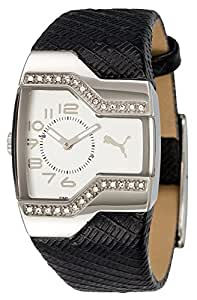 Puma Enticement PU101642003 Stainless Steel Case Black Leather Mineral Women's Watch