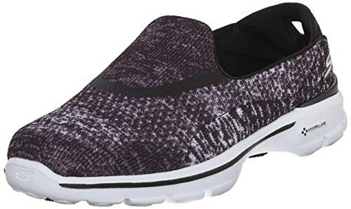Skechers Damen Slipper Go Walk 3 Glisten Schwarz/Weiß, Schuhgröße:EUR 36