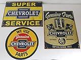 Chevy Parts & Service Tin Metal Signs 3 Piece Set