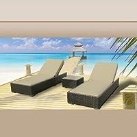 Luxxella Outdoor Patio Wicker Furniture 3 Pc Chaise Lounge Set LIGHT BEIGE by Luxxella