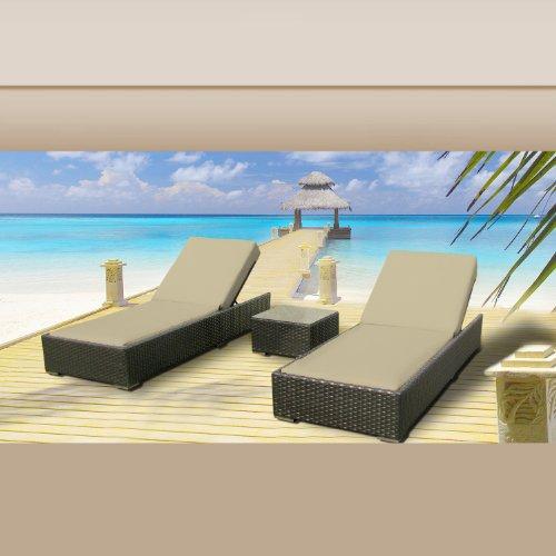 Luxxella Outdoor Patio Wicker Furniture 3 Pc