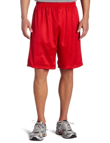 Soffe Men's Long Polyester Mini-Mesh Short, Red , XX-Large