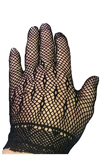 Altissimo Women's Short Black Lace Gothic Steampunk Gloves with Diamond Pattern