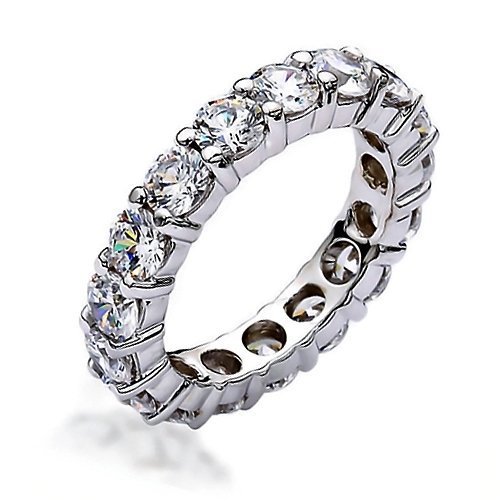 Bling Jewelry Stackable Clear CZ Eternity Wedding Band Ring Sterling Silver