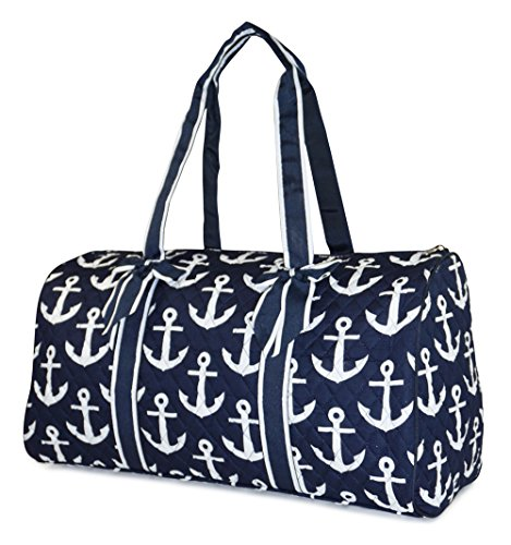 NGIL Quilted Travel Duffel Bag, Nautical Anchor Print (Navy White) (Quilted Duffle Bags Under $20 compare prices)