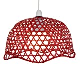 Lighting Web Company Scalloped Dome Shade in Lacquered Bamboo, Red