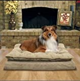 Pillow Top Orthopedic Pet Bed Napper for Dogs in Tan Beds Elevated Memory Foam for Large Medium and Small Dogs and Pets.