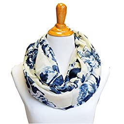 SCARF_TRADINGINC® Floral Light Weight X-large Infinity Scarf (Rosa White Ink)
