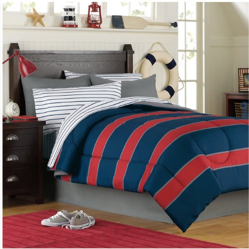 Navy And Grey Bedding 9623 front