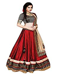 Pramukh Group Women's Embroidered Banglory Silk Red Lehenga With Blouse Pc & Dupatta