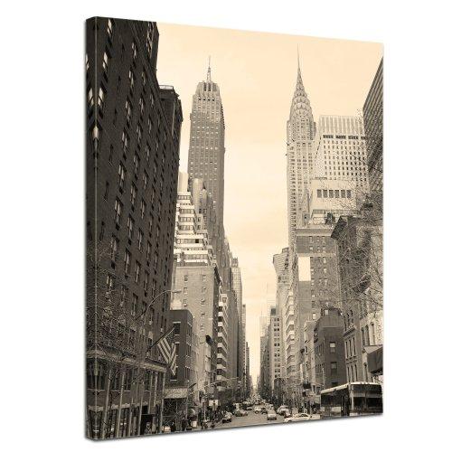 """Bilderdepot24 Leinwandbild """"Manhattan Street View"""" - 50x70 cm 1 teilig - fertig gerahmt, direkt vom Hersteller"""