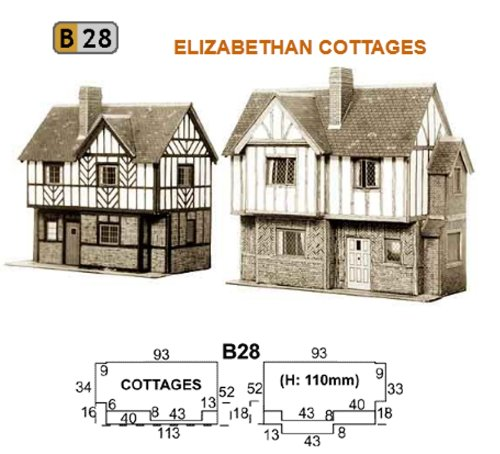 B28 Superquick Two Elizabethan Cottages - 1/72 OO/HO - Card Model Kit