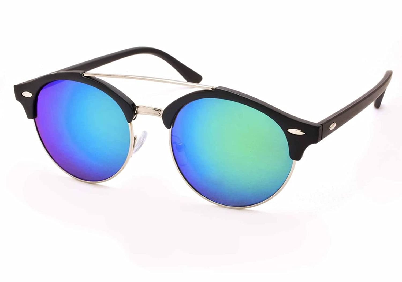 Stacle Double Bridge Clubmaster Round Unisex Sunglasses