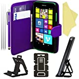 BAAS® Nokia Lumia 630 PU Leather Folio Case Wallet Pouch Flip Cover with Card Holder , 2x Screen Protector Film , Stylus Pen & Desktop Stand