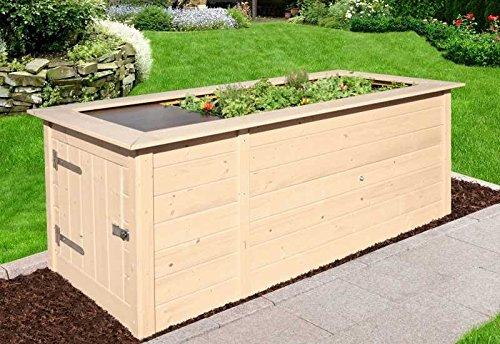 weka hochbeet 669 mit ablagefl che und abstellraum 205 x 79 cm natur. Black Bedroom Furniture Sets. Home Design Ideas