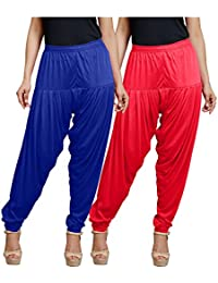 Goodtry Women's Patiala Free Size Pack Of 2 Gajary And Royal Blue