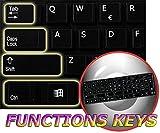 FUNCTION KEYS FOR DESKTOP NON-TRANSPARENT KEYBOARD LABELS LAYOUT BLACK OR WHITE BACKGROUND 14X14 (Black Background)