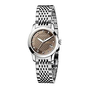 Gucci G-Timeless Collection Women's Quartz Watch with Brown Dial Analogue Display and Stainless Steel Bracelet YA126503