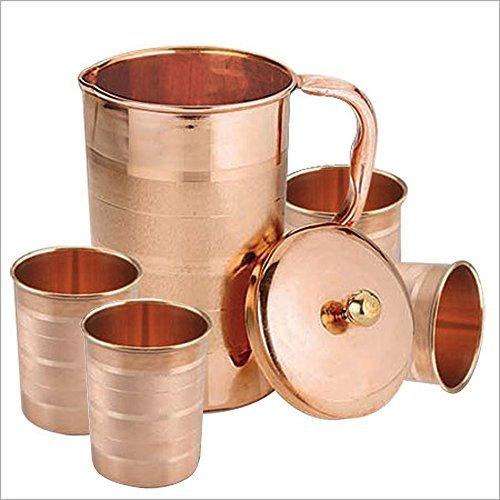 Set di 4 bicchieri d'acqua e una brocca con coperchio, drinkware rame fissato per la guarigione ayurvedico, capacità di 1,6 litro