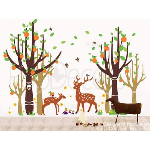Custom Color PopDecors   Tree Forest With Deer   83in H   removable vinyl art wall decals stickers decal sticker mural