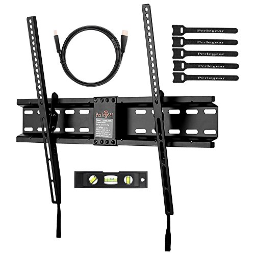 Perlegear Tilt Low Profile TV Wall Mount Bracket for Most 32-70 inch LED, LCD, OLED and Plasma Flat Screen TVs with VESA Patterns up to 600 x 400 - Includes HDMI Cable,Bubble Level & Cable Tie (Low Profile 55 Inch Tv Wall Mount compare prices)