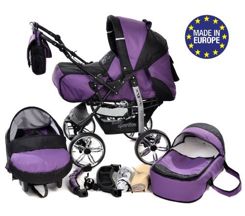 3-in-1 Travel System with Baby Pram, Car Seat, Pushchair & Accessories, Violet & Black