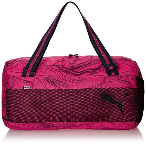PUMA borsa sportiva fondamentals Sports Bag II, fucsia viola/allover lines, 27,4 x 11,6 x 27 cm, 33 litri, 073757 08