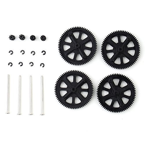Makerfire® Parrot AR Drone 2.0 Motor Pinion Gear Gears and Shaft Clips Set Parts (Black) - 1