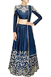 Fabron Women's Raw Silk Lehenga Choli (LCHE9DW7HXT8W6VE-B _ Dark Blue _ Free Size)