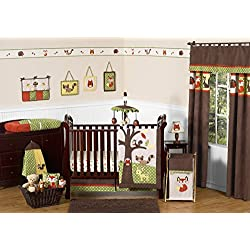 Woodland Forest Animals Owl Deer Tree Baby Boy Nature Bedding 11pc Crib Set without bumper