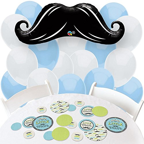 Dashing Little Man Mustache Party - Confetti and Balloon Baby Shower or Birthday Party Decorations - Combo Kit (Dashing Little Man Baby Shower compare prices)