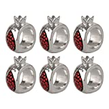 Pomegranate Designed Napkin Rings ~ Set of 6 <br> 925 Silver Electroforming