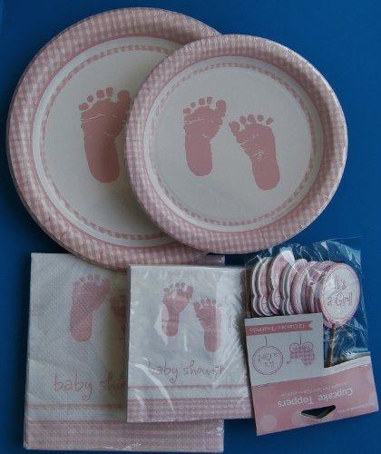 Baby Girl Shower Party Plates Napkin Cupcake Pick Set