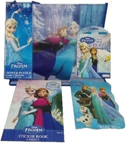 Disney Frozen Princesses Gift Pack, Puzzle, Book, Word Search, Stickers, Tote Bag