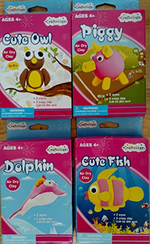 Craftology Animal Clay Craft Kit (Assorted, Designs Vary) Cute Fish, Cute Owl, Dolphin, or Piggy - 1